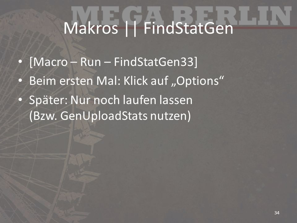 Makros || FindStatGen [Macro – Run – FindStatGen33]